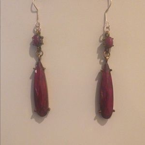 Boho Chic Style Magenta & Silver Dangling Earrings